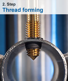 While rotating the thread former is easily inserted into the existing bushing to produce the desired thread e.g. an M8 metric thread